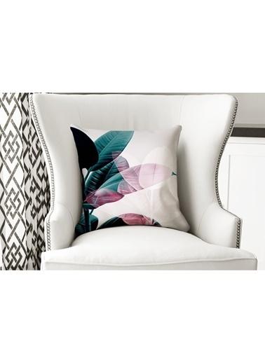 Lyn Home & Decor Yastık Kılıfı Pembe Gölge Yaprak Renkli